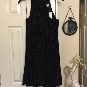 NWT black velour detail halter shift dress L